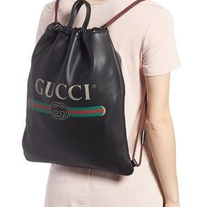 Gucci Bags - GUCCI Logo Leather Drawstring Backpack